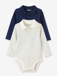 Baby-T-shirts & Roll Neck T-Shirts-Pack of 2 Long-Sleeved Baby Bodysuits