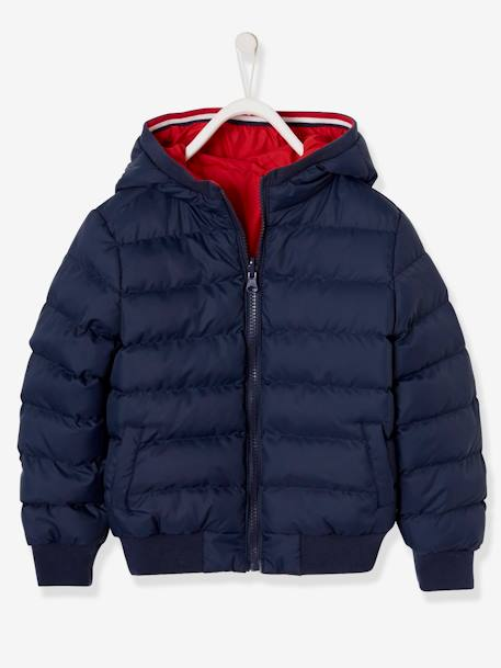 Reversible Jacket for Boys BLUE DARK SOLID WITH DESIGN+GREEN BRIGHT SOLID WITH DESIG+GREY DARK SOLID WITH DESIGN+RED DARK SOLID WITH DESIGN