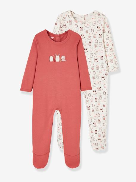 Pack of 2 Cotton Sleepsuits for Babies, Press Studs on the Back PINK MEDIUM 2 COLOR/MULTICOL