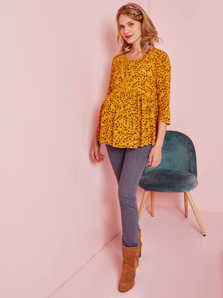 3/4-Sleeve Maternity Blouse BLACK DARK SOLID+BLUE DARK ALL OVER PRINTED+WHITE LIGHT SOLID+YELLOW DARK ALL OVER PRINTED