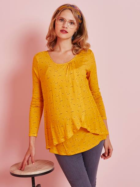 Maternity & Nursing Special Crossover Top WHITE LIGHT ALL OVER PRINTED+YELLOW DARK ALL OVER PRINTED