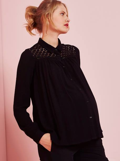 Maternity Lace Blouse BLACK DARK SOLID