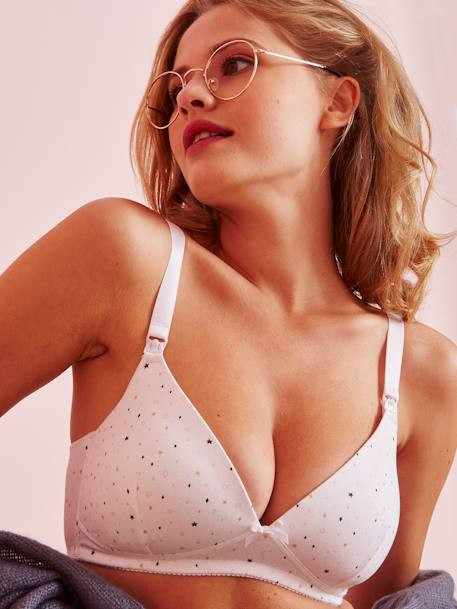 Pack of 2 Soft Padded Nursing Bras Black + grey marl+PINK LIGHT SOLID+WHITE LIGHT ALL OVER PRINTED+WHITE LIGHT SOLID