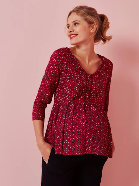 Maternity Printed Blouse RED DARK ALL OVER PRINTED