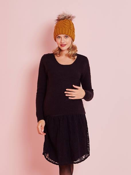 Maternity Dual Fabric Dress BLACK DARK SOLID WITH DESIGN