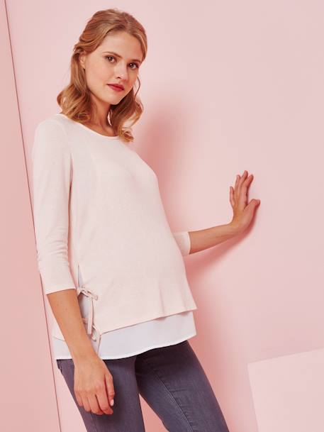 2-in-1 Maternity Top GREY LIGHT MIXED COLOR+PINK MEDIUM SOLID