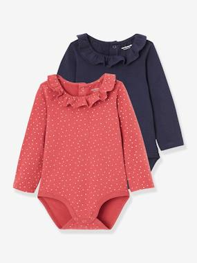 Click to view product details and reviews for Pack Of 2 Bodysuits For Babies Peter Pan Collar Long Sleeves Pink Dark All Over Printed.