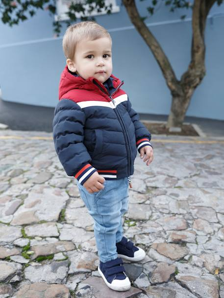 Colourblock Jacket with Hood, for Baby Boys BLUE DARK SOLID