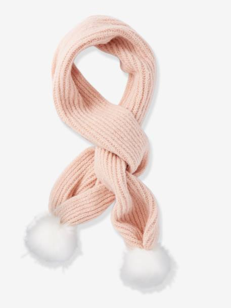 Scarf with Faux Fur Pompons, for Girls BROWN LIGHT SOLID+PINK LIGHT SOLID