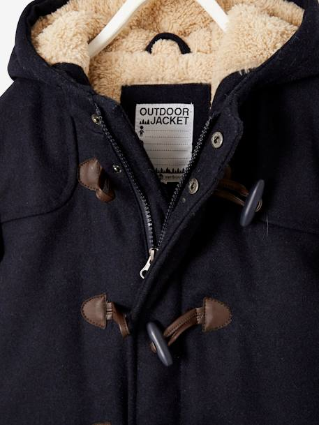Sherpa-Lined Duffle Coat, with Hood, for Boys BLUE DARK SOLID WITH DESIGN+GREY DARK MIXED COLOR