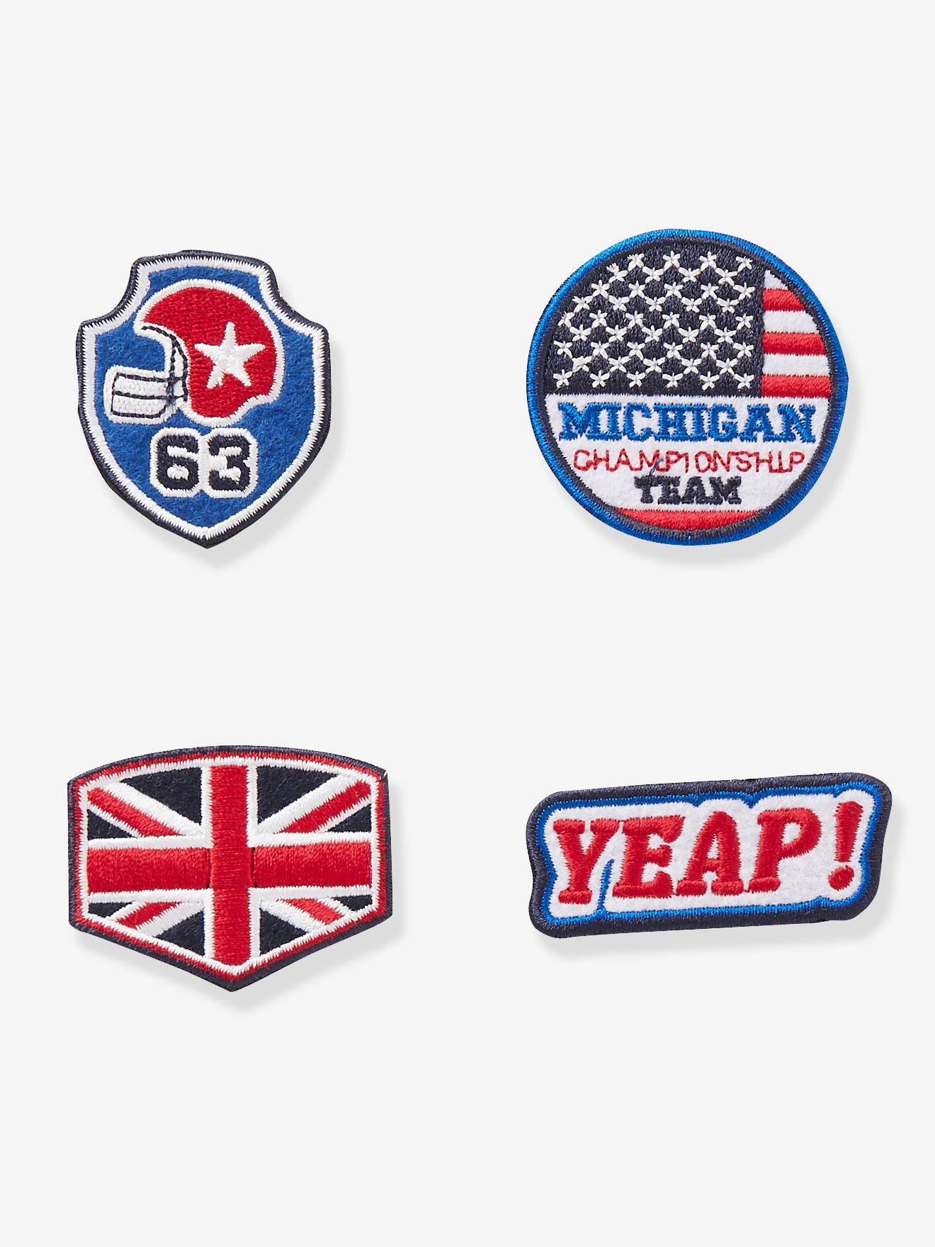 graphic regarding Printable Iron on Patches named Pack of 4 Iron-Upon Patches, Athletics Concept, for Boys - blue brilliant all earlier mentioned published, Boys Vertbaudet