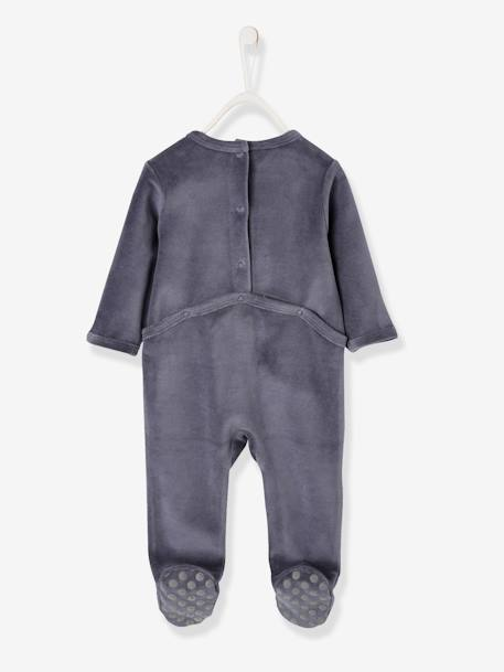Velour Sleepsuit for Babies, with Press Studs on the Back BLUE DARK SOLID WITH DESIGN+GREEN LIGHT SOLID WITH DESIGN