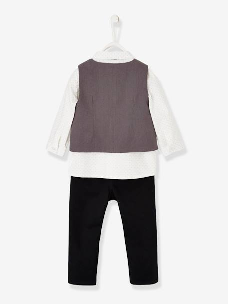 Occasion Wear Outfit : Waistcoat + Shirt + Bow Tie + Trousers, for Boys BLUE DARK SOLID+GREY DARK SOLID