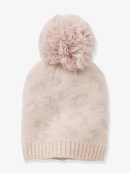 Leopard Print Beanie, with Pompom, for Girls BEIGE LIGHT ALL OVER PRINTED