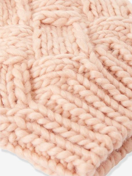 Cable Knit Beanie with Pompom, for Girls GREY MEDIUM SOLID+PINK LIGHT SOLID