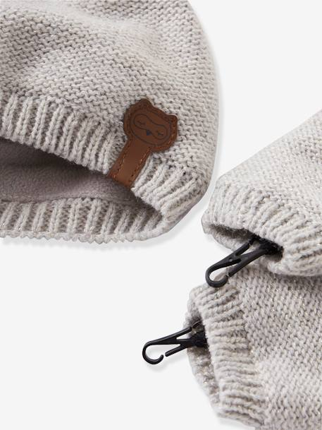Baby Girls' Iridescent Beanie, Snood & Mittens Set, Lined GREY LIGHT SOLID+PINK DARK SOLID+WHITE LIGHT SOLID