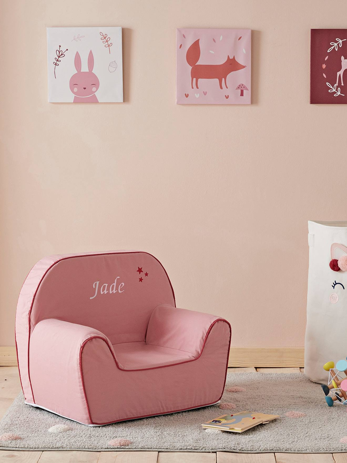 Foam Armchair for Babies pink light solid, Bedroom Furniture & Storage | Vertbaudet