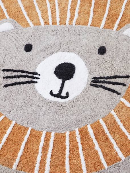 Washable Round Rug, Lion GREY MEDIUM SOLID WITH DESIGN
