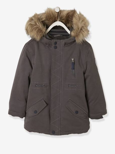 Plush-Lined Parka for Boys BLUE DARK SOLID WITH DESIGN+BROWN DARK SOLID WITH DESIGN+GREY DARK SOLID WITH DESIGN