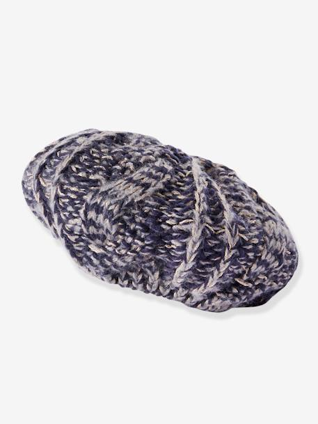 Knitted Beret in Shimmery Yarn, for Girls BLUE DARK SOLID+PINK LIGHT SOLID