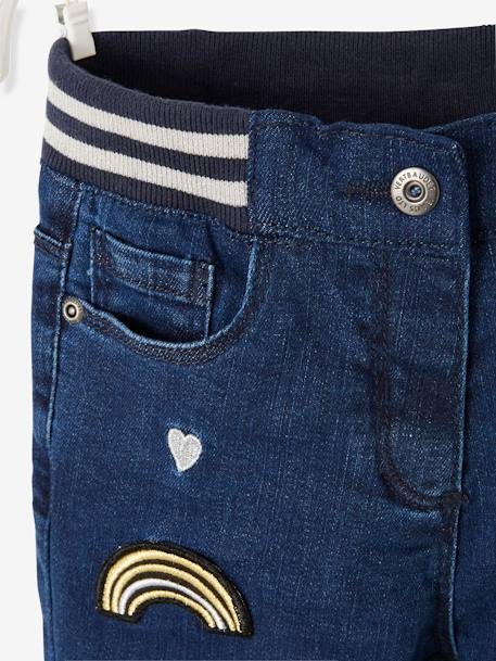 Straight Leg Jeans for Girls, with Patches & Embroidery, Designed for Autonomy BLUE DARK SOLID