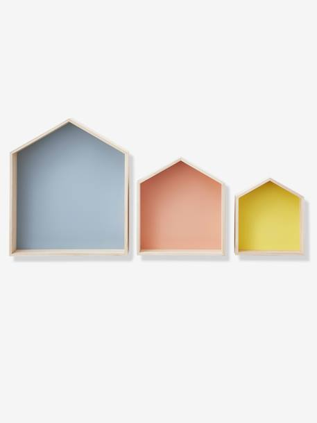 Set of 3 House-Shaped Shelves BLUE DARK SOLID+ORANGE LIGHT SOLID+Wood / multi