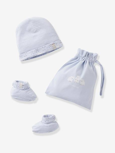 Beanie & Booties + Pouch, for Newborn Babies BLUE MEDIUM SOLID+PINK MEDIUM SOLID
