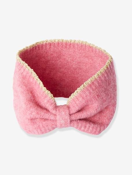 Knitted Headband with Iridescent Trim, for Girls BLUE DARK SOLID+PINK LIGHT SOLID+WHITE LIGHT SOLID
