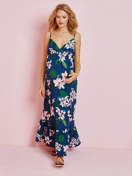 Long Maternity Dress, Tropical Print GREEN MEDIUM ALL OVER PRINTED