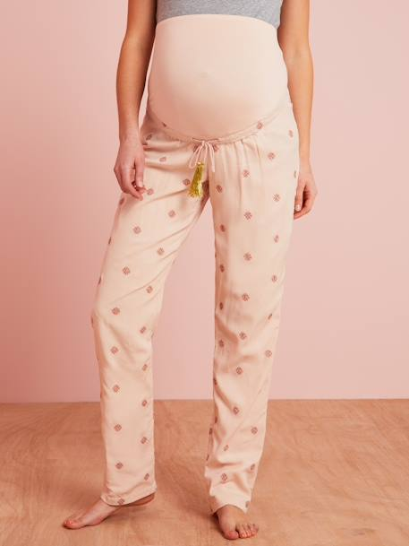 Loungewear Maternity Trousers PINK LIGHT SOLID WITH DESIGN