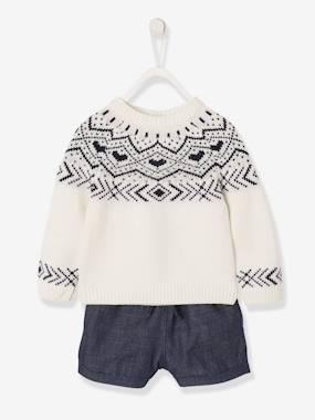 Click to view product details and reviews for Jumper Shorts Outfit For Baby Girls White Light Solid With Design.