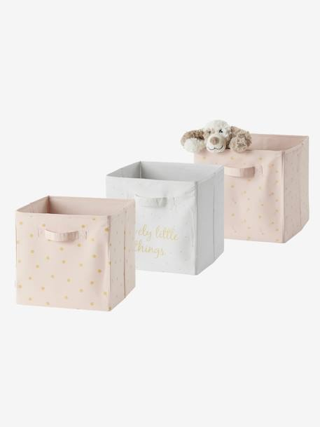 Set of 3 Storage Boxes, Lovely PINK LIGHT ALL OVER PRINTED