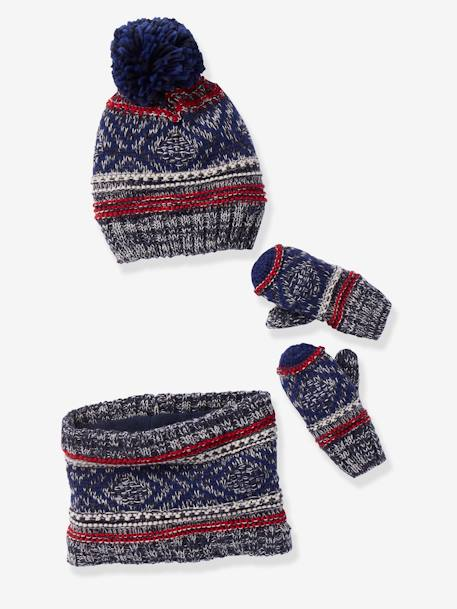 Beanie with Pompom + Snood + Gloves, for Boys BLUE DARK SOLID+GREY MEDIUM SOLID