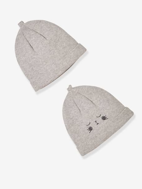 Pack of 2 Newborn Baby Beanies, Organic Cotton GREY LIGHT MIXED COLOR+WHITE LIGHT TWO COLOR/MULTICOL