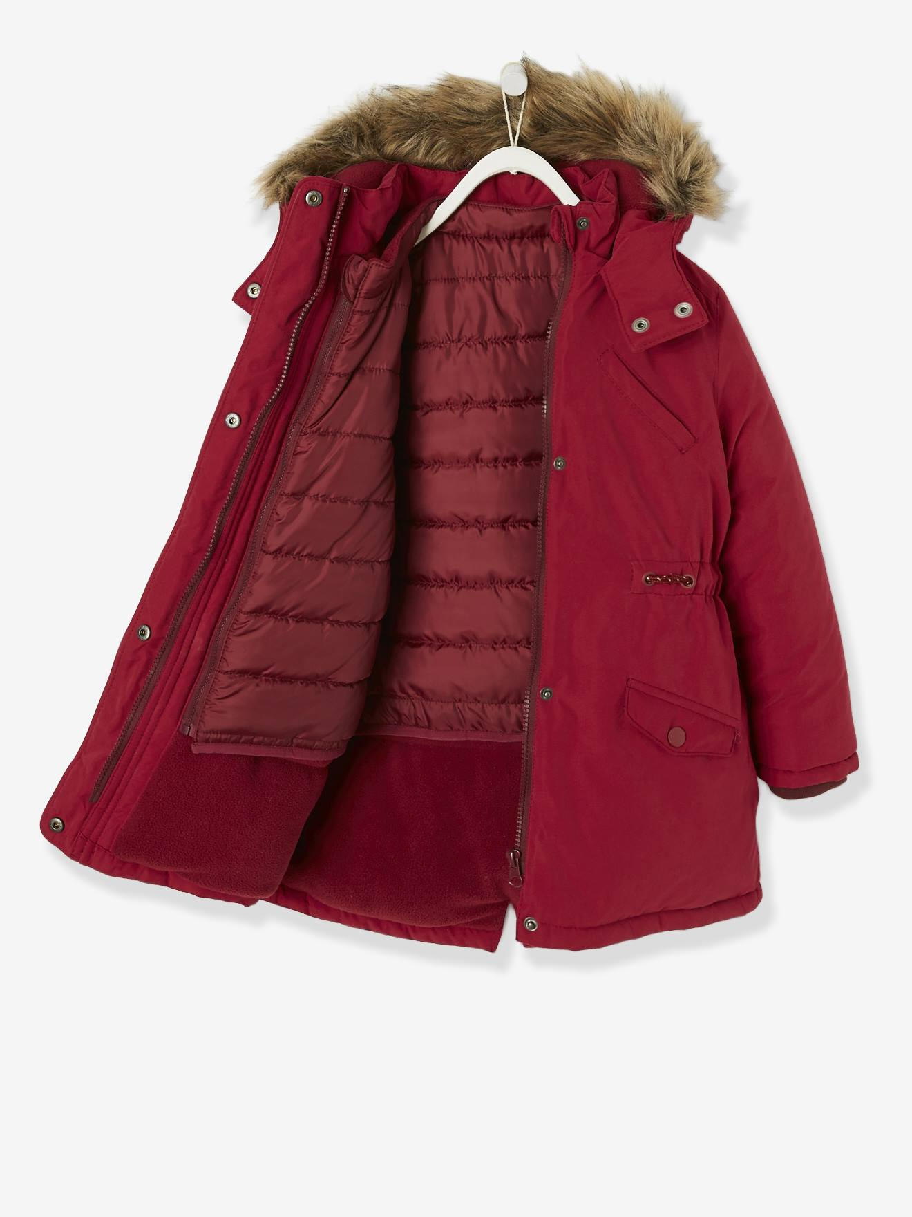 3 in 1 Parka for Girls red dark solid