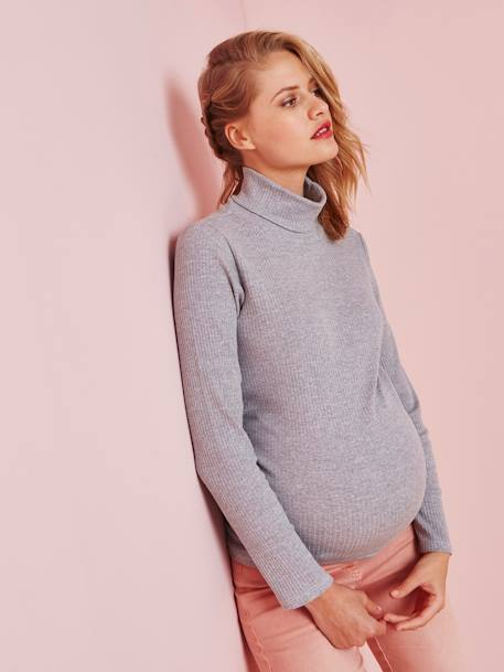Maternity Polo-Neck Top BLACK DARK SOLID+GREY LIGHT MIXED COLOR