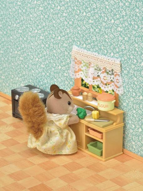 5289 - Classic Kitchen Set, by SYLVANIAN FAMILIES BROWN DARK ALL OVER PRINTED
