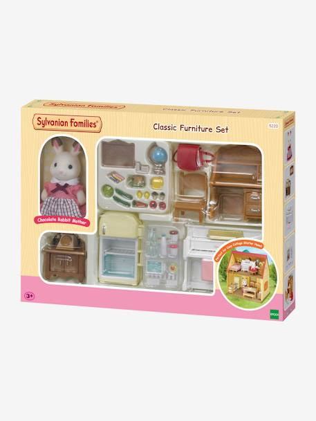 5220 - Classic Furniture Set with Chocolate Rabbit Mother, by SYLVANIAN FAMILIES WHITE DARK SOLID WITH DESIGN