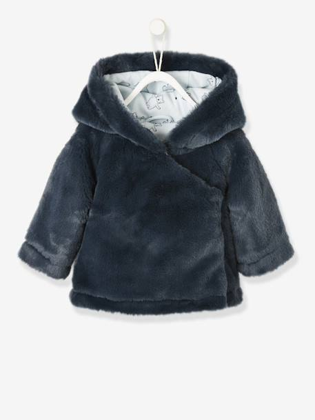Faux Fur Jacket with Lining for Newborn Babies BLUE DARK SOLID WITH DESIGN+PINK LIGHT SOLID WITH DESIGN