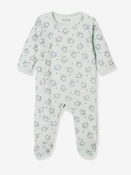 Set of 2 Front Opening Velour Sleepsuits, for Newborns WHITE LIGHT TWO COLOR/MULTICOL