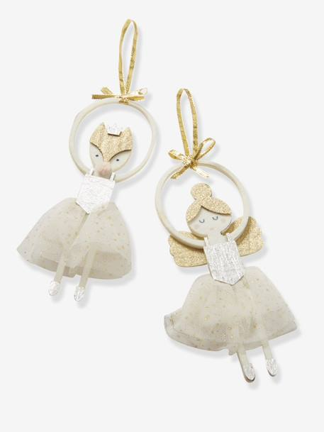 Set of 2 Ballerinas to Hang on Christmas Tree GREY MEDIUM SOLID WITH DESIGN