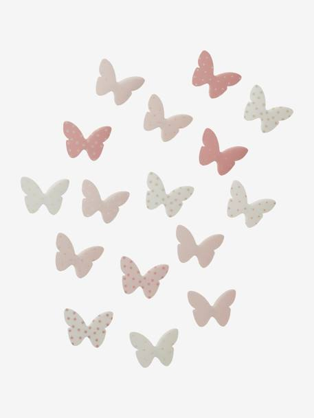 Pack of 14 Butterfly Decorations Pink / print+PINK LIGHT ALL OVER PRINTED