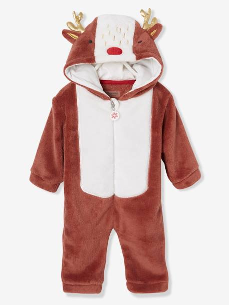 Christmas Reindeer Jumpsuit, for Babies BROWN LIGHT SOLID WITH DESIGN