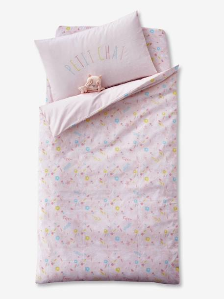 Duvet Cover for Babies, PETIT CHAT PINK LIGHT SOLID WITH DESIGN