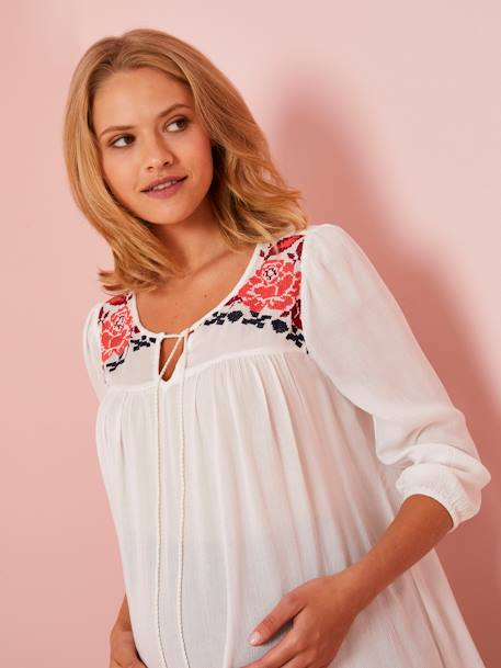 Embroidered Maternity Blouse WHITE LIGHT SOLID WITH DESIGN