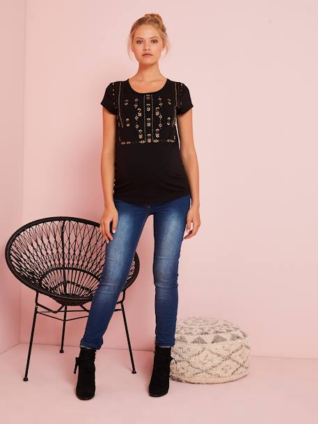 T-Shirt Embroidered with Beads, for Maternity BEIGE DARK SOLID WITH DESIGN+BLACK DARK SOLID WITH DESIGN