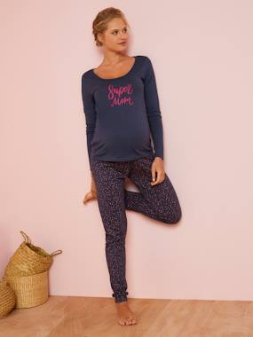 Click to view product details and reviews for Pyjama Top Bottoms For Maternity Blue Dark All Over Printed.