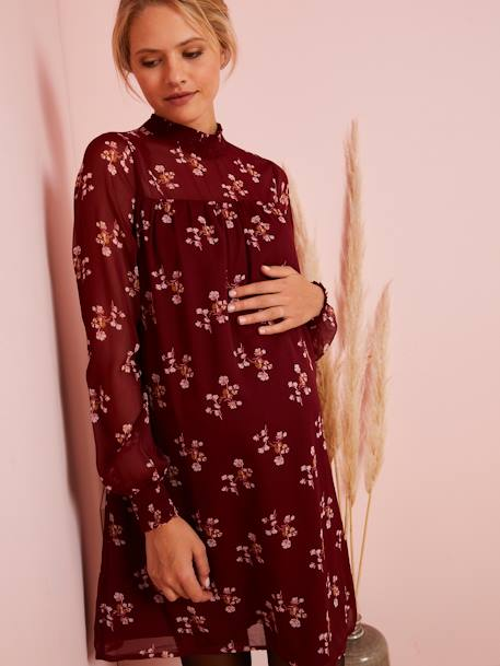Maternity Floral Dress RED DARK ALL OVER PRINTED