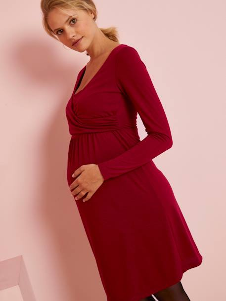 Adaptable Maternity & Nursing Wrapover Dress Black+BLUE BRIGHT ALL OVER PRINTED+RED DARK SOLID