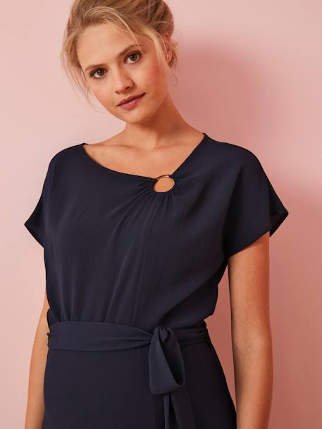 Short-sleeved Maternity Dress BLUE DARK SOLID